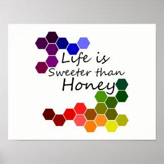 Honig-Thema mit positiven Wörtern Poster