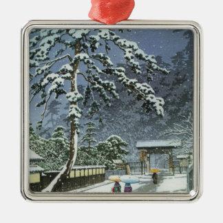 Honmonji Tempel im Schnee - Kawase Hasui 川瀬巴水 Silbernes Ornament