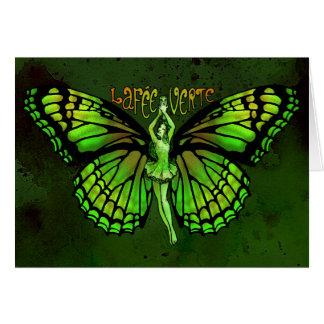Honoraires Verte de La avec des ailes écartées Carte De Vœux