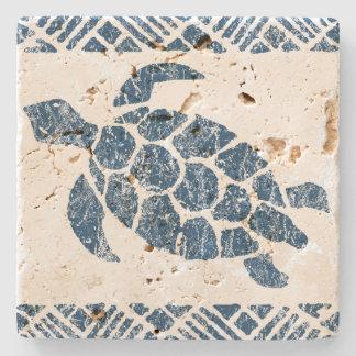 Honu Meeresschildkrötehawaiischer Tapa - Indigo Steinuntersetzer