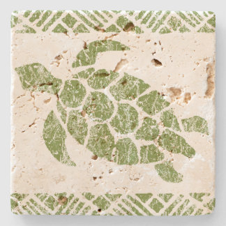 Honu Meeresschildkrötehawaiischer Tapa - Olive Steinuntersetzer