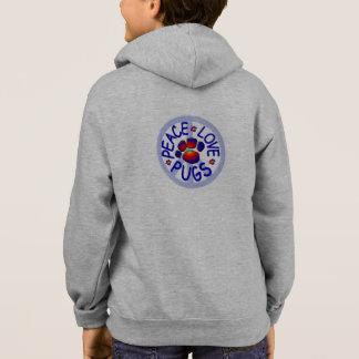 Hoodie der FriedensLiebe-Mops-Kinder Zip