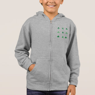 Hoodie der Kinder Zipmit Watercolorklee-Blätter