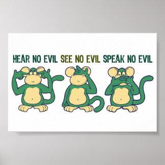 Hören Sie keine Übel-Affe-Grüntöne Poster