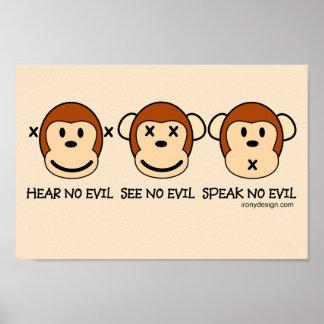 Hören Sie keine Übel-Affen Poster