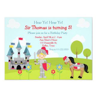 Hören Sie Ritter-Geburtstags-Party YE blondes 12,7 X 17,8 Cm Einladungskarte