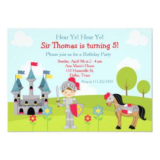 Hören Sie Ritter-Geburtstags-Party YE brünettes 12,7 X 17,8 Cm Einladungskarte