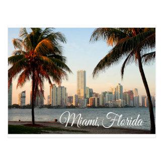 Horizon et port de Miami la Floride la nuit Carte Postale