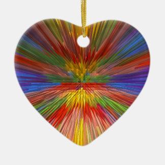 HORIZONT Regenbogen-bunter Streifen-romantischer Keramik Herz-Ornament