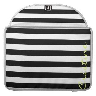 horizontale Schwarzweiss-Streifen mit Namen Sleeve Für MacBooks