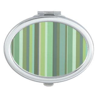 Horizontale Streifen des Olivgrüns Taschenspiegel