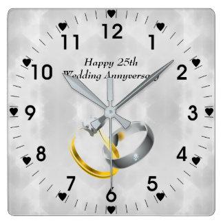 Horloge Carrée 25ème Anneaux d'anniversaire de noces d'argent