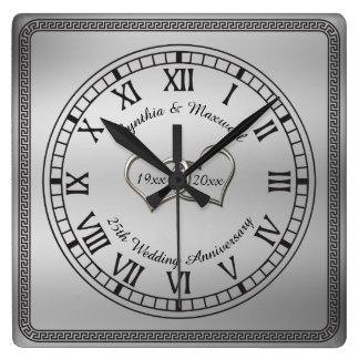 Horloge Carrée 25ème anniversaire de mariage de clé grecque