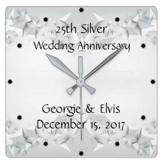 Horloge Carrée 25ème anniversaire de mariage géométrique argenté