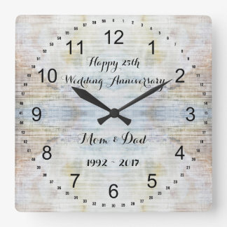 Horloge Carrée 25ème Motif de marbre d'anniversaire de mariage