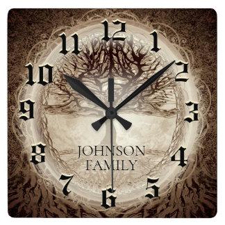 Horloge Carrée Arbre généalogique de mariage ou d'anniversaire