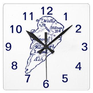 Horloge Carrée Bleu marine vintage de carte de Sc de Hilton Head
