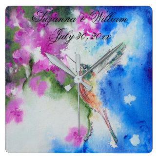 Horloge Carrée Cadeaux abstraits de maison de mariage de colibri