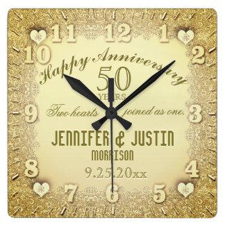 Horloge Carrée cinquantième Anniversaire de mariage