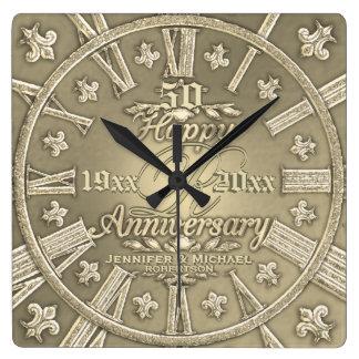 Horloge Carrée cinquantième Carré d'anniversaire de mariage d'or