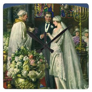 Horloge Carrée Jeunes mariés vintages, cérémonie de mariage
