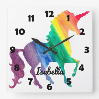Horloge Carrée La belle licorne d'arc-en-ciel personnalisée