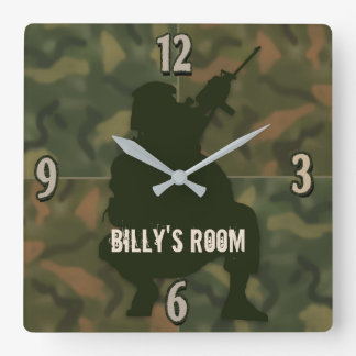Horloge Carrée L'horloge de l'enfant d'armée - Camo et