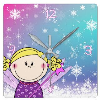 Horloge Carrée L'horloge - la petite princesse - les flocons de