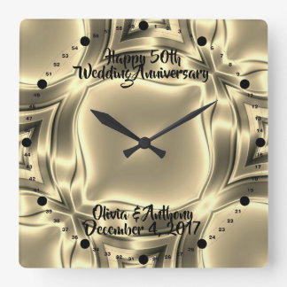 Horloge Carrée Lignes d'or cinquantième anniversaire de mariage