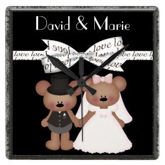 Horloge Carrée Mariage de jeune mariée et de marié d'ours de