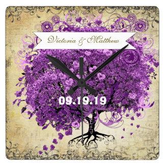 Horloge Carrée Mariage rayonnant d'arbre de feuille de Purple