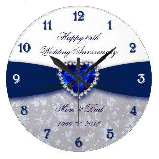 Horloge d'anniversaire de mariage de damassé