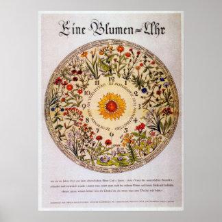 Horloge   de fleur de Blumenuhr Poster