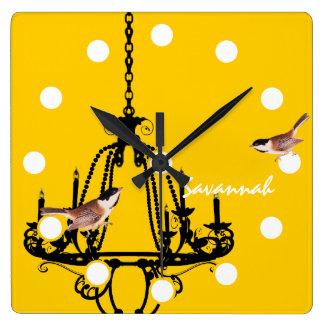 Horloge jaune d'oiseau de lustre personnalisée