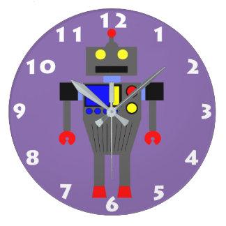 Horloge murale d'enfants du ROBOT (LILAS AVEC des