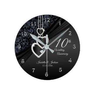 Horloge Ronde 10ème Conception noire d'anniversaire de mariage