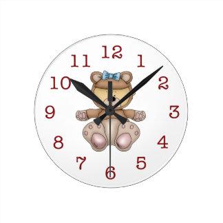 Horloge Ronde L'horloge murale des Bébé-Enfants d'ours de