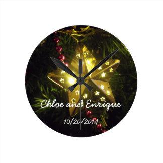 Horloge Ronde Mariage de vacances personnalisé par étoile de