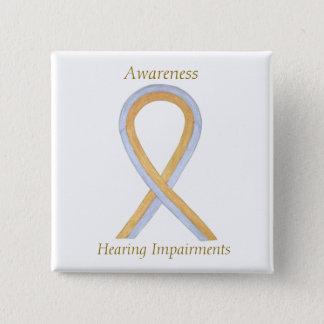 Hörschaden-Bewusstseins-Band-Engels-Button Quadratischer Button 5,1 Cm