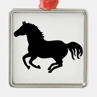 horse pony pferd mustang riding reiten quadratisches silberfarbenes ornament