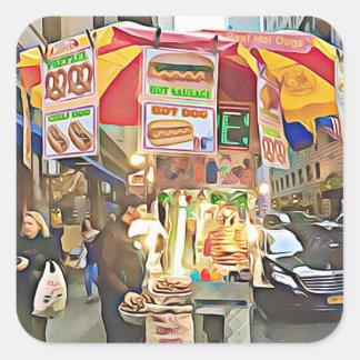 Hotdog-Stand-Foto-Aufkleber New York City Quadratischer Aufkleber
