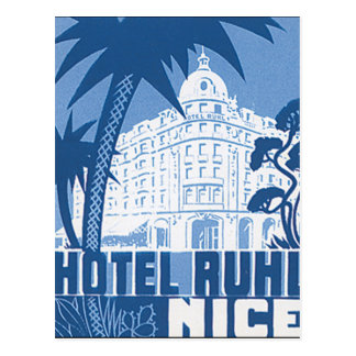 Hotel Ruhl Nizza Vintages Reise-Plakat Postkarte