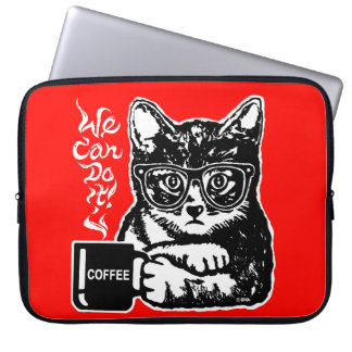 Housse Pour Ordinateur Portable Chat drôle motivé par le café