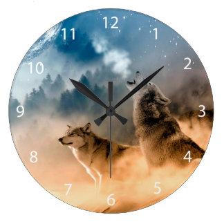 Howlin Wolf - Wolfkunst - Mondwolf - Waldwolf Große Wanduhr