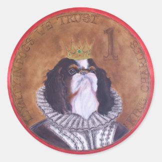 HRH König Charles, unbekümmertes Spaniel-Siegel Runder Aufkleber