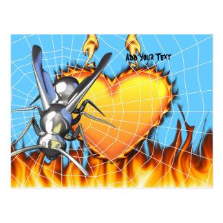 hrome Entwurf 2 gelber Jacke mit Feuer und Netz Postkarte