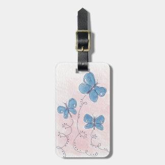 Hübsch im rosa blauen Schmetterling Kofferanhänger