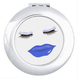 Hübsche blaue Lippenrunder kompakter Spiegel Schminkspiegel