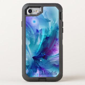 Hübsche blaue u. lila abstrakte Blume OtterBox Defender iPhone 8/7 Hülle