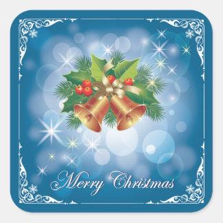 Hübsche blaue und weiße frohe Weihnachten Quadratischer Aufkleber